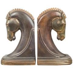 Bronze & Copper Plated Machine Age Trojan Horse Bookends by Dodge, circa 1930s