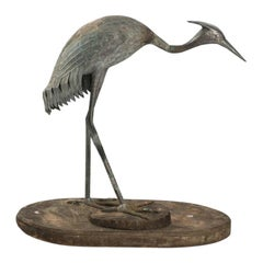 Early 19th Century Antique Bronze Crane Ornament