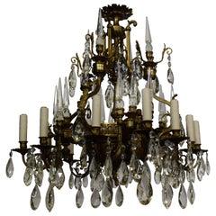 Gilt Bronze & Crystal Neo Classical Chandelier