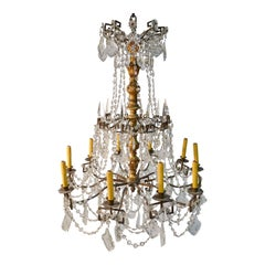 Bronze, Crystal & Gilt Wood Regency Style Chandelier