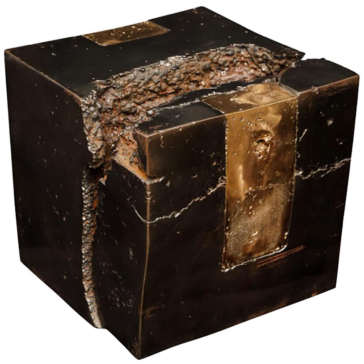Bronze Cube Shaped Sculpture