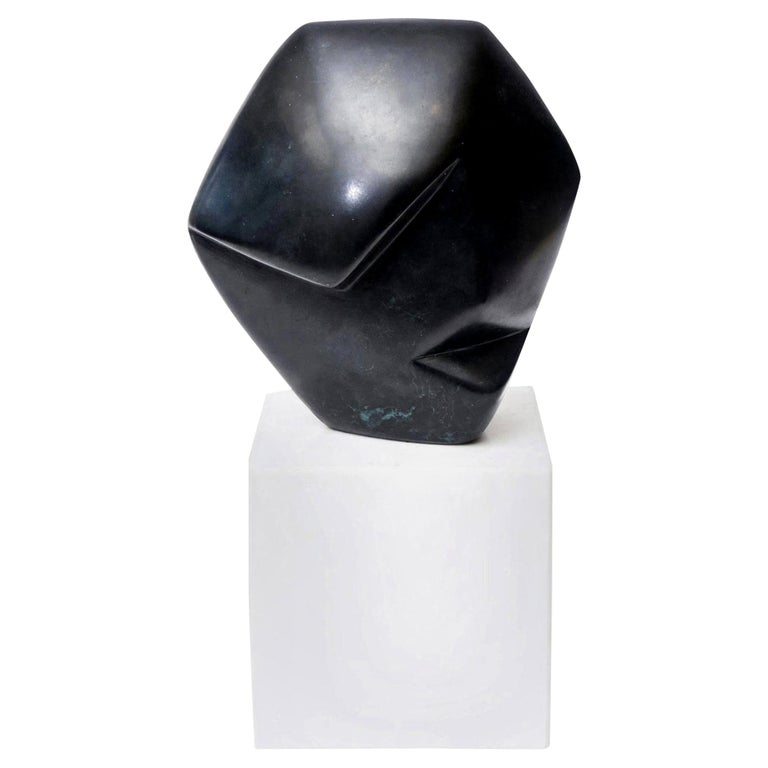 Bronze Cubist Sculpture on White Carrara Marble Base