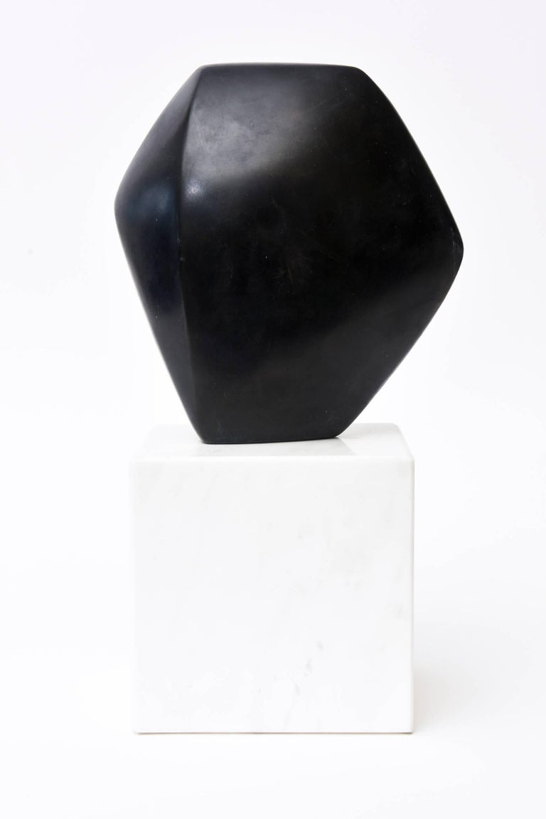 Late 20th Century Bronze Cubist Sculpture on White Carrara Marble Base