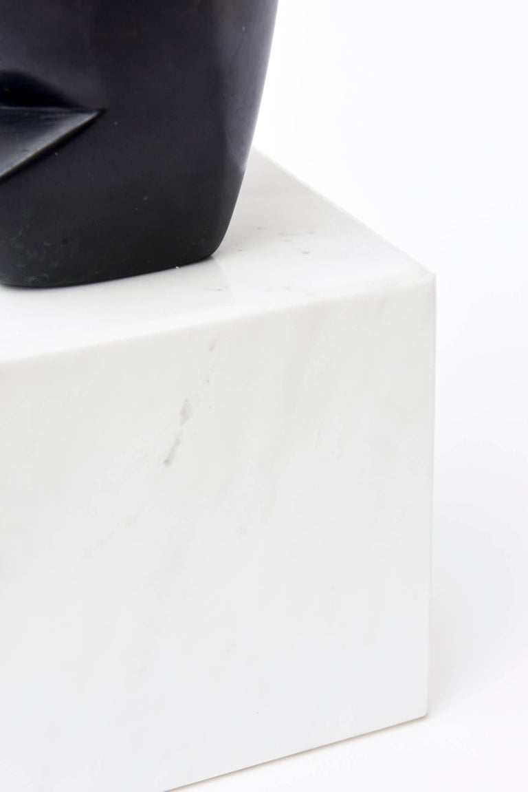 Bronze Cubist Sculpture on White Carrara Marble Base 2