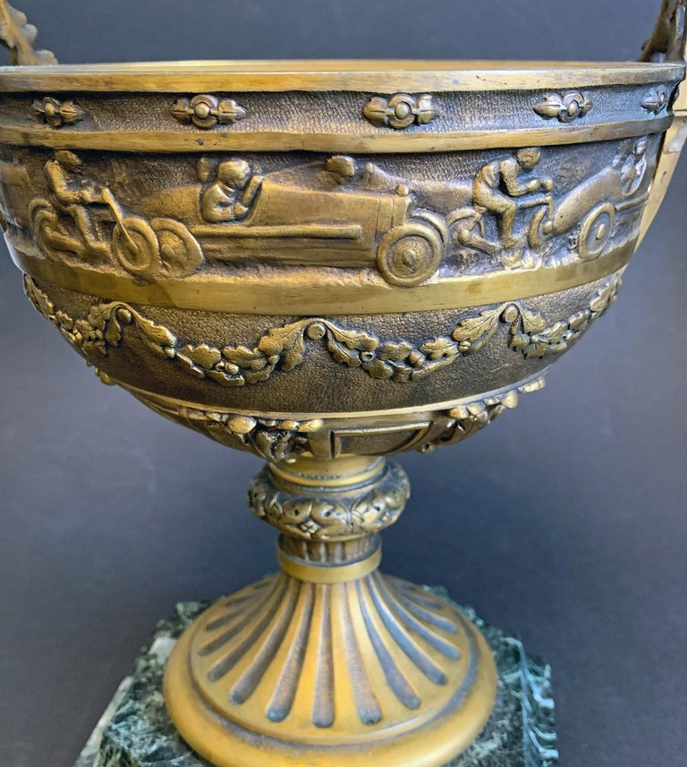 Art Deco Bronze Cup with Race Cars and Motorcycles by Etling, France For Sale