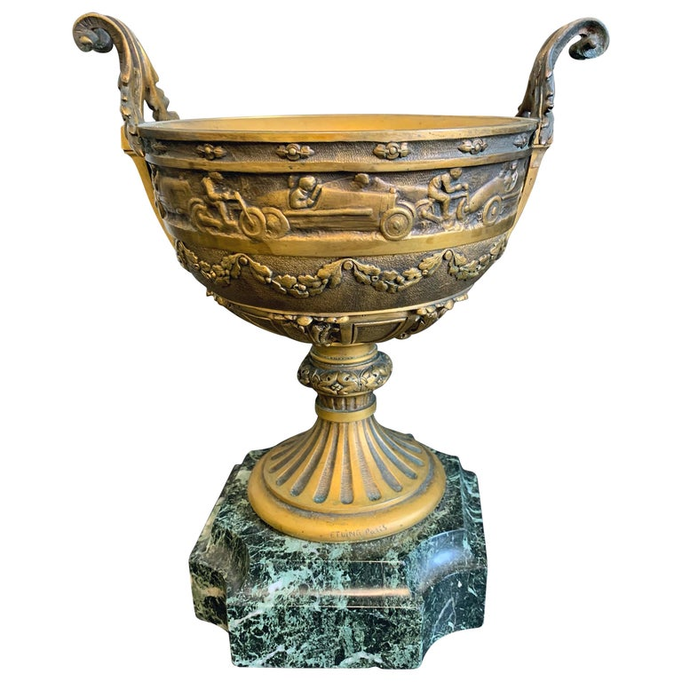 Bronze Cup with Race Cars and Motorcycles by Etling, France For Sale
