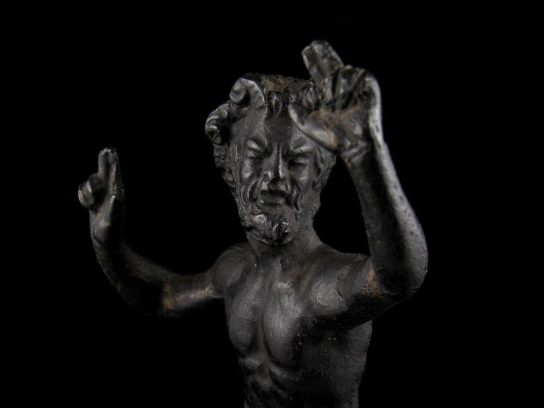 Well Cast 19th Century Bronze Dancing Faun Figurine In Good Condition For Sale In Dallington, East Sussex