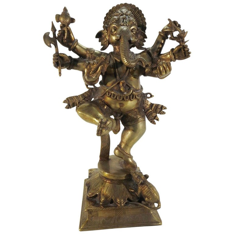 Bronze Dancing Ganesha Statuette For Sale