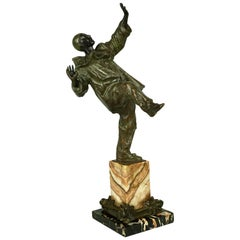 Bronze Dancing Harlequin or Clown Standing on Two Color Marble Base