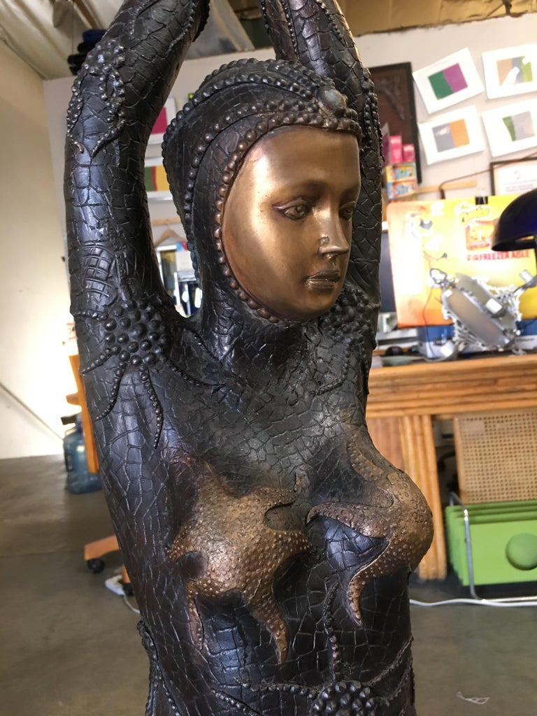 Late 20th Century Bronze Deco Statue Fashioned After
