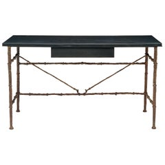 Bronze Desk with Black or Brown Leather Wrapped Top
