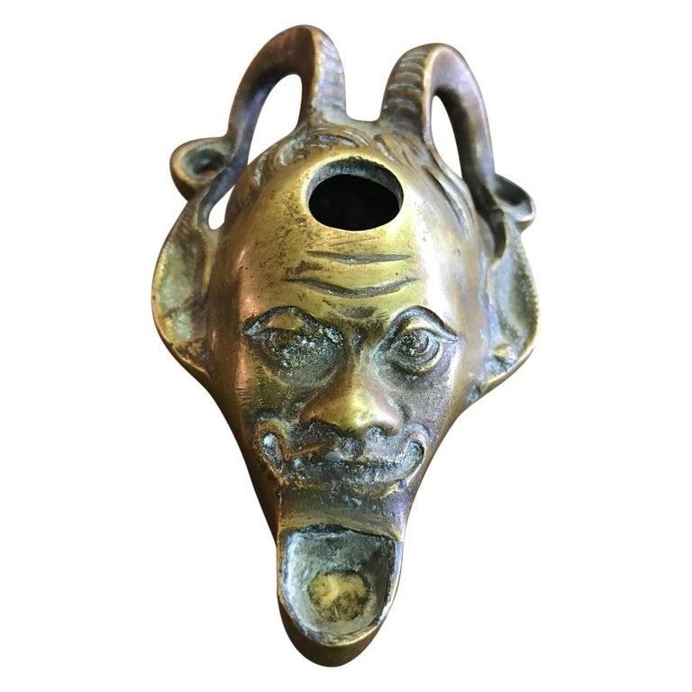 Bronze Devil Oil Lamp For Sale