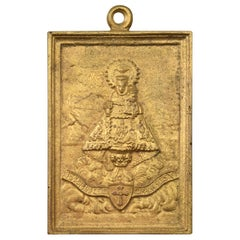 Bronze Devotional Plaque, Our Lady of Covadonga or Cuadonga, 20th Century