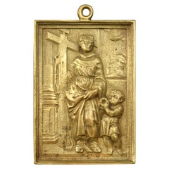 Bronze Devotional Plaque Possibly St Didacus of Alcalá, 19th Century