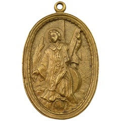 Bronze Devotional Plaque, St Vincent of Saragossa or Martyr, 19th Century