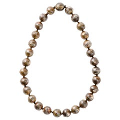 Bronze, Diamond & Ruby Bead Necklace by Jewelry Sculptor Mark Timmerman