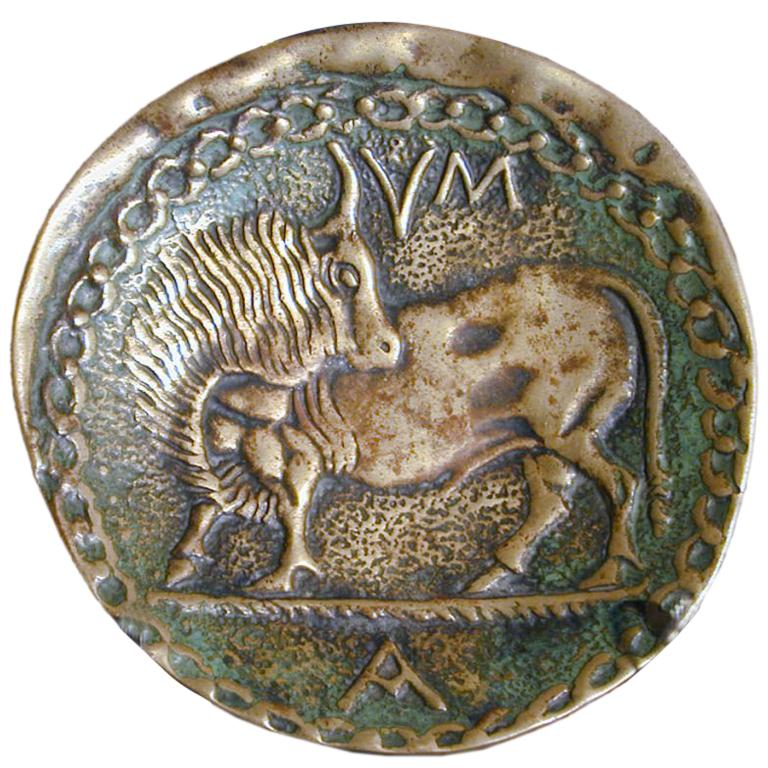 Bronze Dish with Bull by Max Le Verrier
