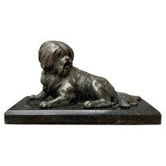 Bronze Dog Paperweight on Marble Base, Swedish Empire Circa 1825-1850