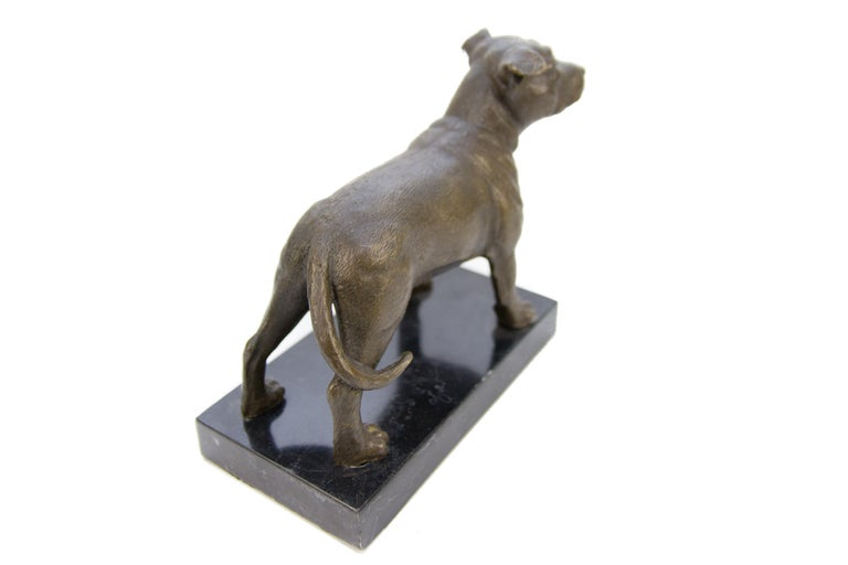 Belgian Bronze Dog Sculpture Staffordshire Bull Terrier on Marble For Sale
