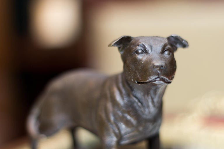 Bronze Dog Sculpture Staffordshire Bull Terrier on Marble For Sale 3