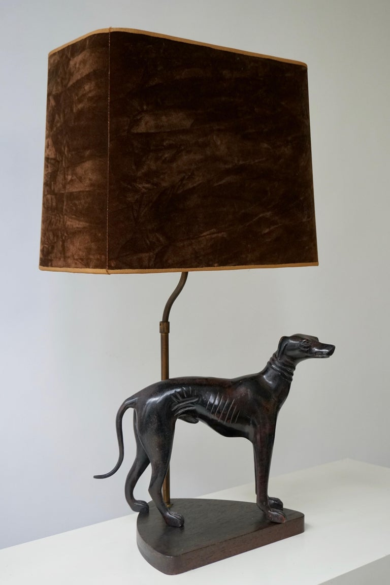 Mid-Century Modern Bronze Dog Sculpture Table Lamp For Sale
