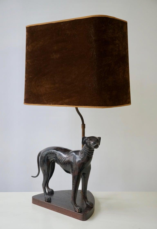 Italian Bronze Dog Sculpture Table Lamp For Sale