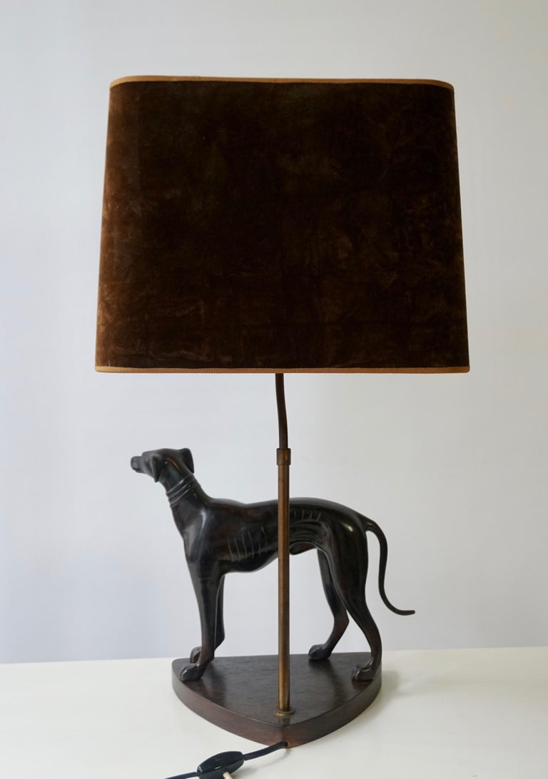 20th Century Bronze Dog Sculpture Table Lamp For Sale