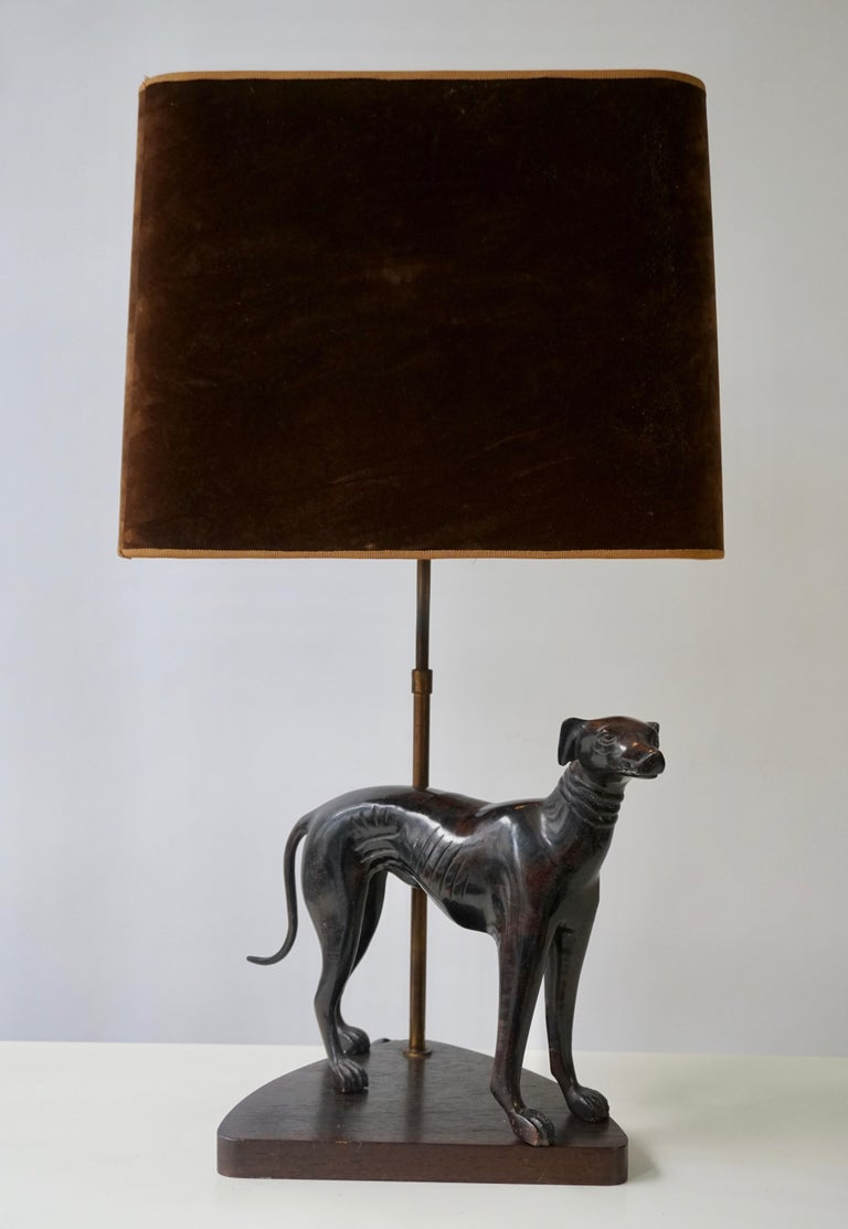 Bronze Dog Sculpture Table Lamp For Sale 1
