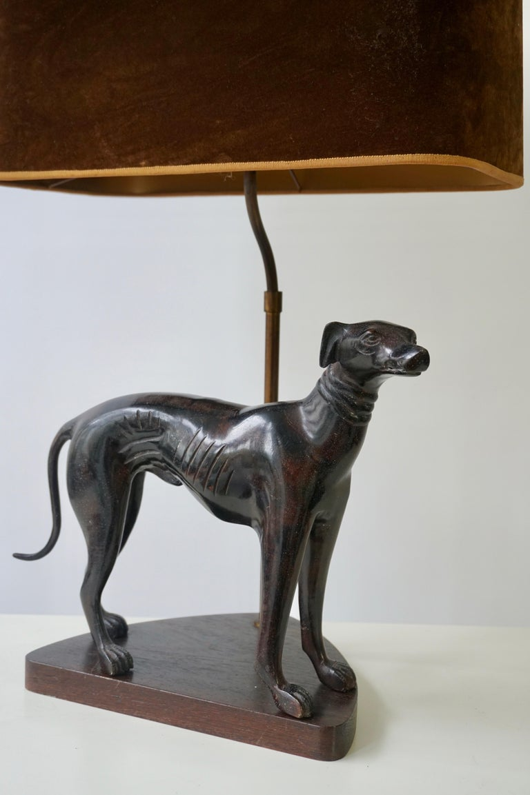 Bronze Dog Sculpture Table Lamp For Sale 2