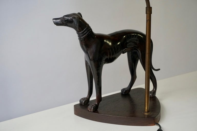 Bronze Dog Sculpture Table Lamp For Sale 3