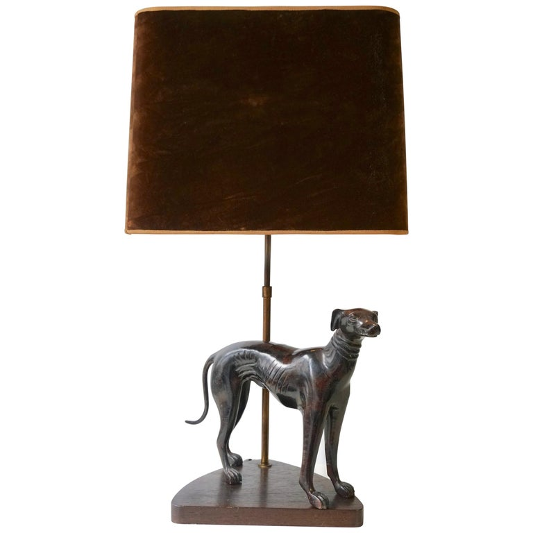 Bronze Dog Sculpture Table Lamp For Sale