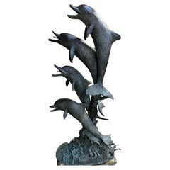 Bronze Dolphin Figure Group Fountain