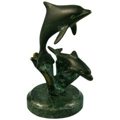 Bronze Dolphin Sculpture on Marble Base