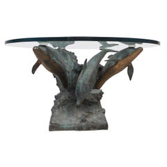 Bronze Dolphins on a Wave Sculptural Coffee Table