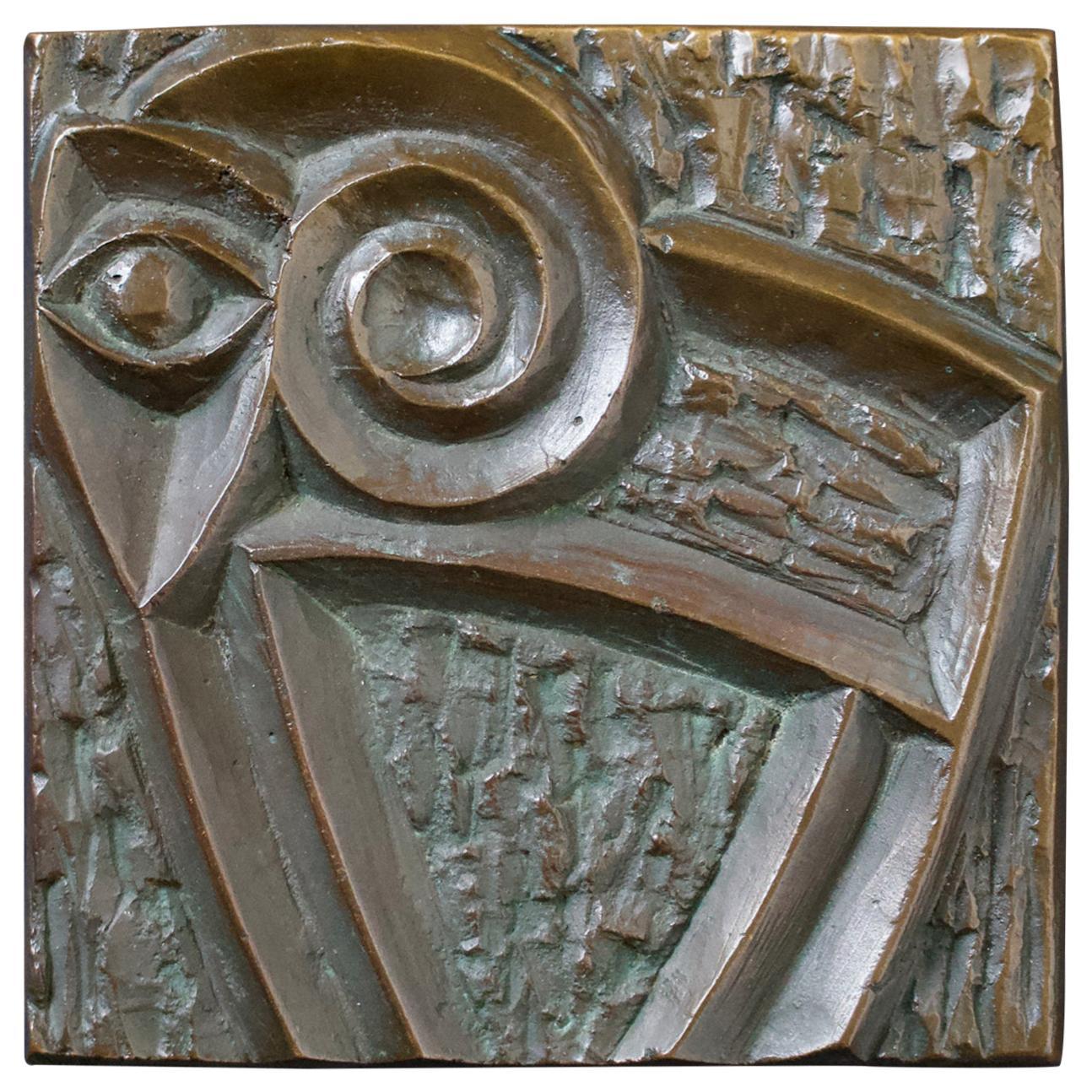 Bronze Door Handle with Modernist Zoomorphic Motif, 20th Century European