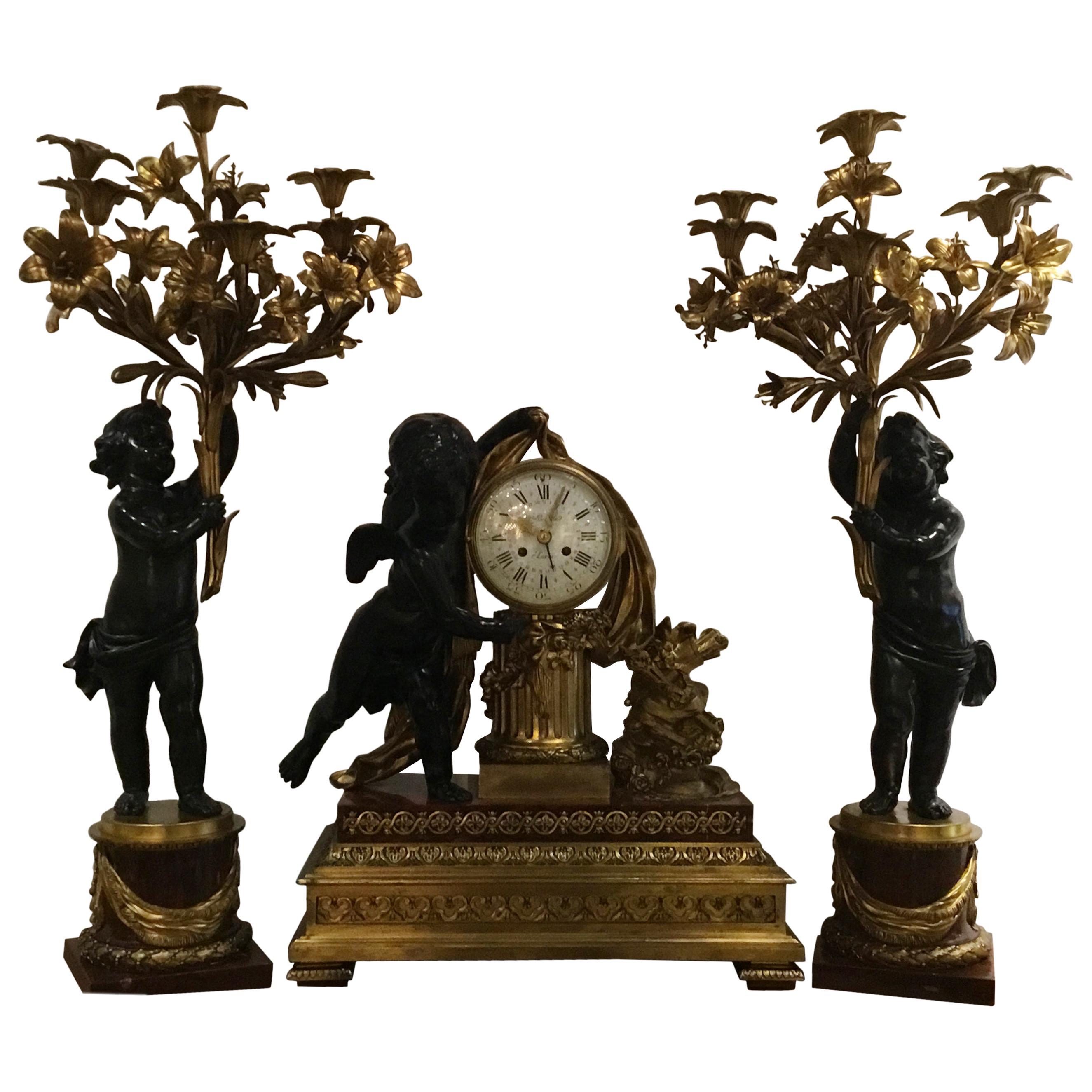 Bronze Doré and Rouge Marble Clock Garniture Set by Ferdinand Berthoud