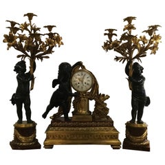 Bronze Doré and Rouge Marble Clock Garniture Set by Ferdinand Berthoud