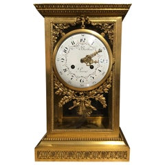Bronze Dore Mantel Clock, 19th Century by F. Berthoud with Open Escapement