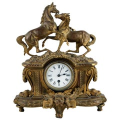 Bronze Doré Mantle Clock with Stallion and Mare Horses, French, circa 1880