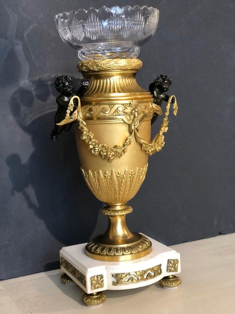 Bronze Dore Vase with Baccarat Liner For Sale 1