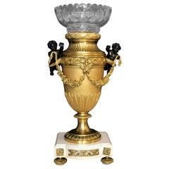 Bronze Dore Vase with Baccarat Liner