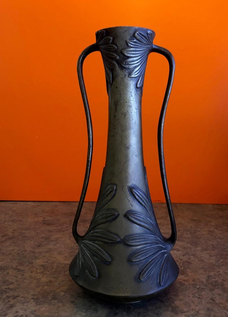 Bronze Double Handle Floral Relief Vase In Good Condition For Sale In San Diego, CA