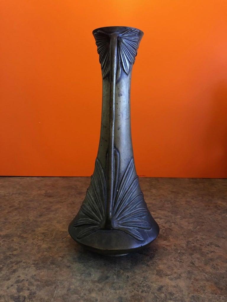 Bronze Double Handle Floral Relief Vase For Sale 1