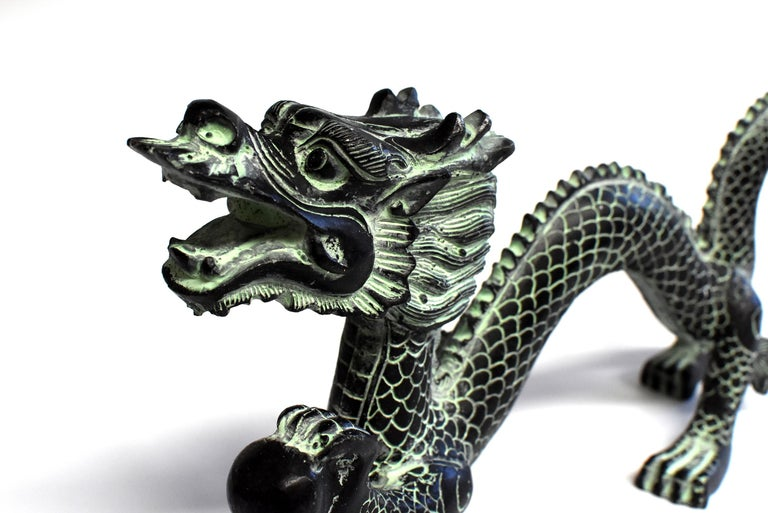 Chinese Bronze Dragon with Fire Ball, 11.5