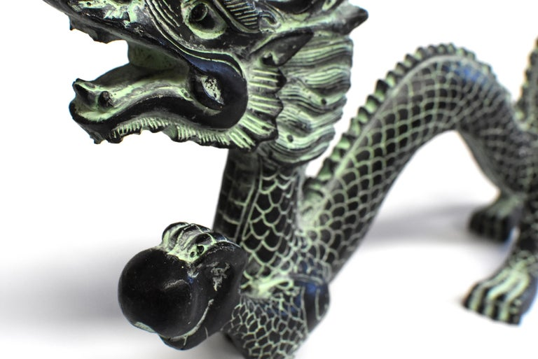 Contemporary Bronze Dragon with Fire Ball, 11.5