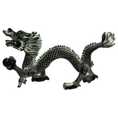 "Bronze Dragon with Fire Ball, 11.5"" Wide"