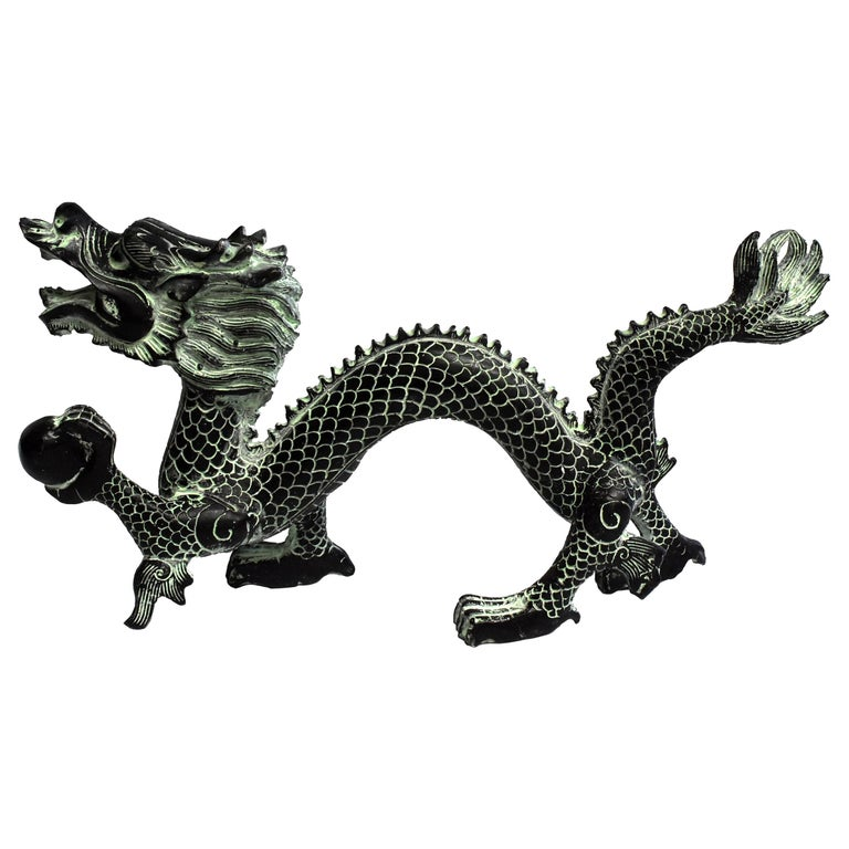 """Bronze Dragon with Fire Ball, 11.5"""" Wide For Sale"""