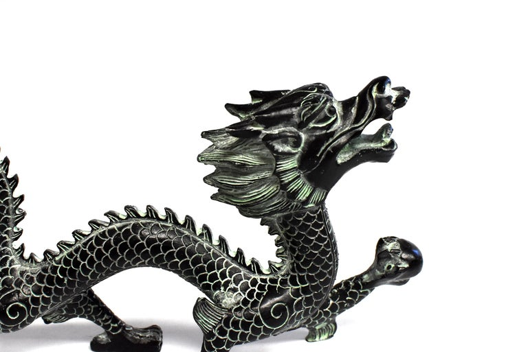 Chinese Bronze Dragon with Fire Ball, 9.5
