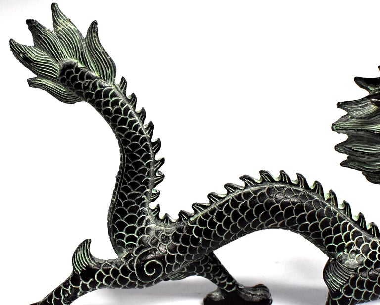 Contemporary Bronze Dragon with Fire Ball, 9.5