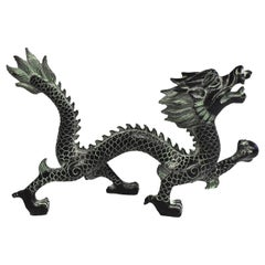 "Bronze Dragon with Fire Ball, 9.5"" Wide"